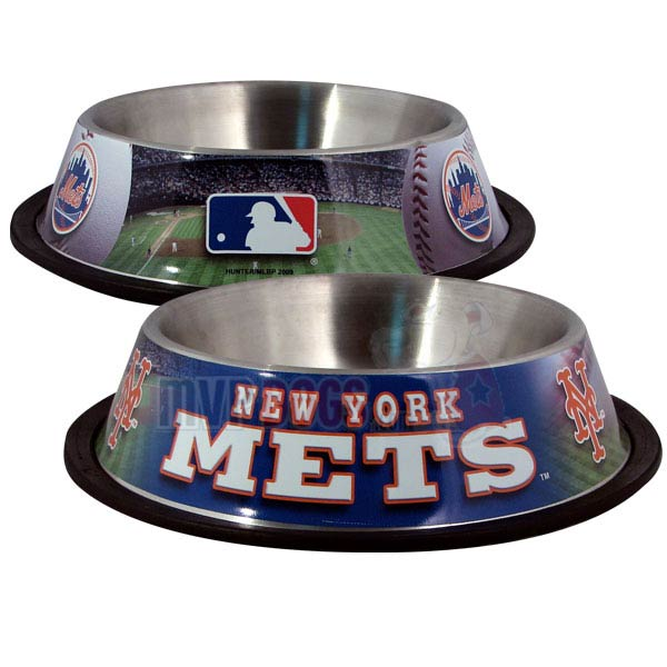 New York Mets MLB Stainless Steel Dog Bowl