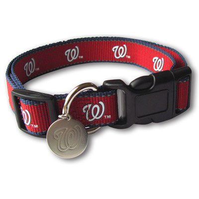 Washington Nationals Reflective Nylon Collar with ID Tag